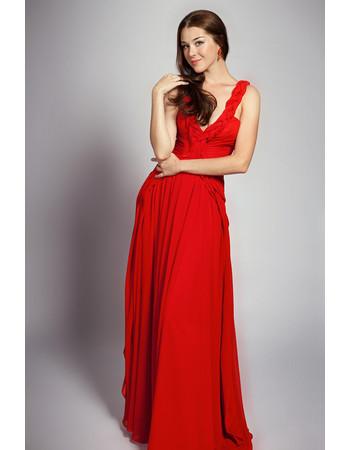 Sexy V-Neck Chiffon Open Back Long A-Line Evening Dress for Women