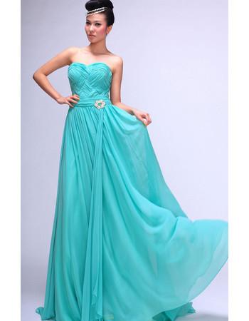 Cheap Classy Chiffon Sweetheart Floor Length A-Line Prom Evening Dress for Women