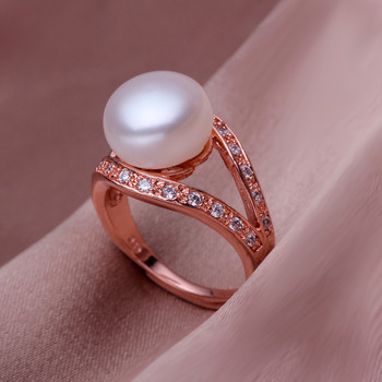 Beautiful Pink/ White 10 - 11mm Freshwater Off-Round Pearl Ring