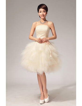 Custom Informal Charming Bubble Skirt Strapless Organza Short Beach Wedding Dress