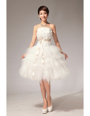 Romantic Stunning Strapless Lace-up Knee Length Tiered Tulle Short Dress for Summer Wedding
