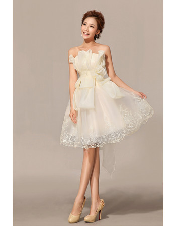 Unique Amazing A-Line Strapless Organza Knee Length Outdoor Wedding Dress with Bow