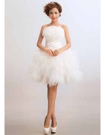 Custom Modern Classy Ball Gown Strapless Organza Short Petite Beach Wedding Dress