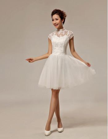 Inexpensive Classic Lace Mandarin Collar Cap Sleeves Short Beach Wedding Dress