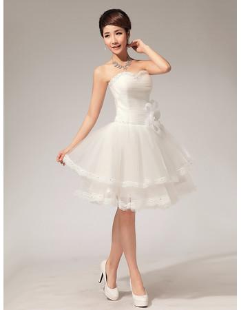 Modern Classy Informal A-Line Sweetheart Organza Short Beach Wedding Dress