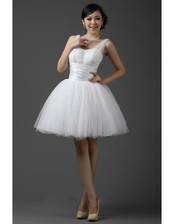 Cheap Classic Straps Ball Gown Organza Short Reception Wedding Dress