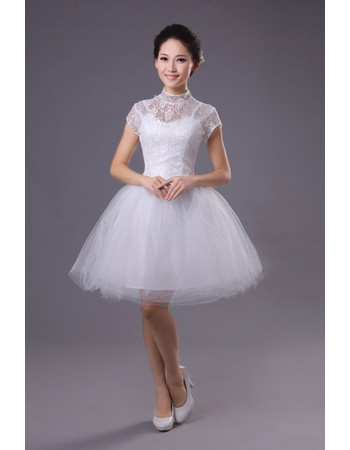 Cheap Custom Classic Mandarin Collar Short Sleeves Short Reception Wedding Dress