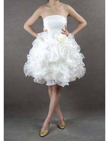 Inexpensive Chic Bubble Skirt Column Strapless Short Beach Wedding Dress