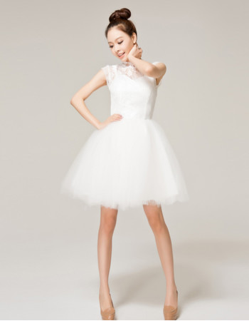 Designer Charming A-Line Mandarin Collar Lace Tulle Short Wedding Dress for Reception