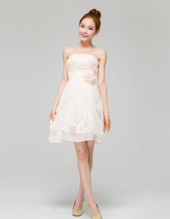 Inexpensive Charming Strapless A-Line Short Beach Chiffon Wedding Dress with 3D Flower