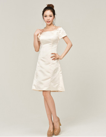 Cheap Simple Off-the-shoulder Satin Short Reception Wedding Dress with Short Sleeves