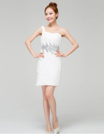 Stylish Modern Column/ Sheath One Shoulder Ruched Chiffon Short Reception Wedding Dress for Summer