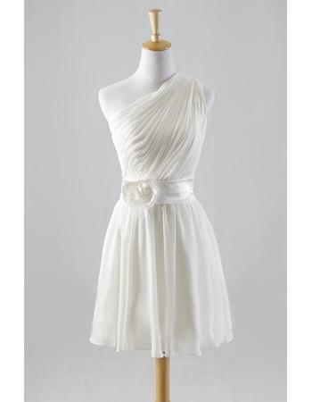 Modern Classy Simple One Shoulder Ruched Knee Length Reception Beach Chiffon Wedding Dress