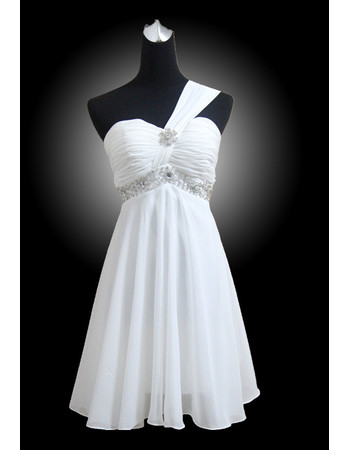 Custom Designer Empire Waist One Shoulder Beaded Pleated Short Beach Chiffon Wedding Dress