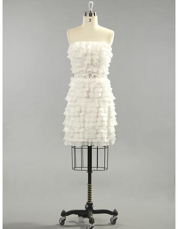 Custom Modern Chic Layered Chiffon Strapless Short Beach Wedding Dress for Summer