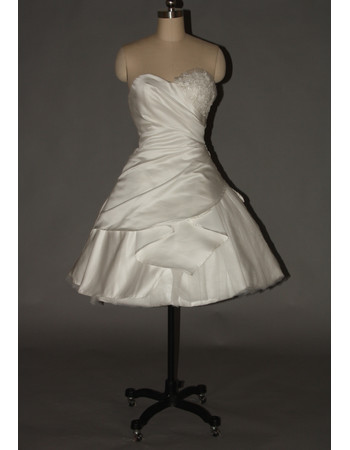 Cheap Custom Classic A-Line Sweetheart Ruched Satin Short Reception Wedding Dress with Beaded Applique