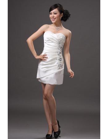 Cheap Sheath/ Column Sweetheart Ruched Satin Short Informal Wedding Dress