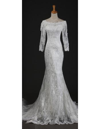 Cheap Elegant Long Sleeves Lace Mermaid Sweep Train Wedding Dress