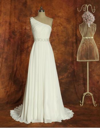 Beautiful Simple One Shoulder Chiffon A-Line Brush Train Wedding Dress