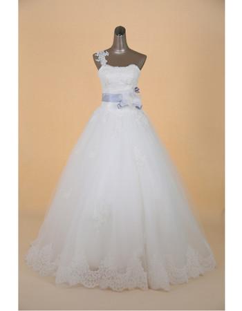 Cheap Custom Classic One Shoulder A-Line Brush Train Satin Wedding Dress
