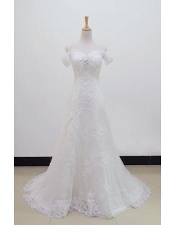 Custom Beautiful High Waist Off-the-shoulder Organza A-Line Sweep Train Wedding Dress