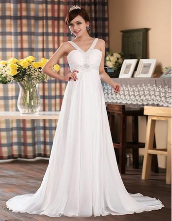 Elegant High Waist Chiffon V-Neck Empire Sweep Train Dress for Spring Wedding