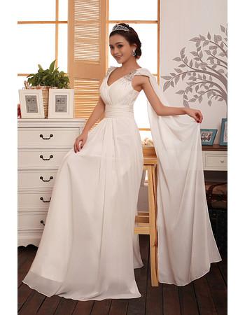 Custom Romantic Chiffon Straps Sweep Train A-Line Wedding Dress