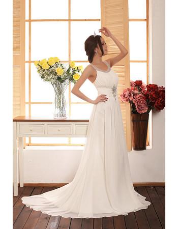 Cheap Romantic Chiffon Sweep Train Sheath Scoop/ Round Wedding Dress