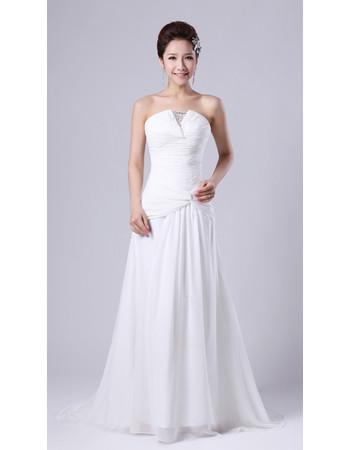 Spring Modern Classic Chiffon Strapless Sweep Train A-Line Wedding Dress