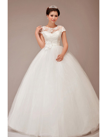 Cheap Europe Classic Short Sleeves Ball Gown Floor Length Wedding Dress