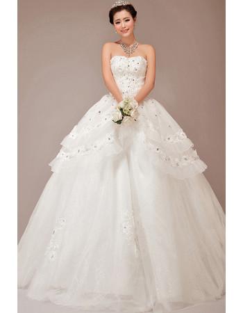Cheap Stunning Tiered Skirt Ball Gown Strapless Long Wedding Dress