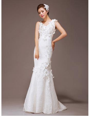 Cheap Gorgeous Mermaid/ Trumpet Lace Sweep Train Wedding Dress