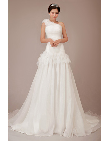 Beautiful Charming One Shoulder Chiffon Chapel Train A-Line Wedding Dress