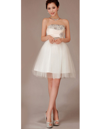 Cheap Charming A-Line Strapless Satin Organza Short Beach Wedding Dress