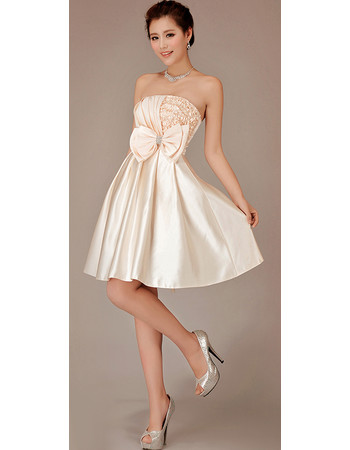 Cheap Modern Strapless Satin Short Reception Wedding Dress