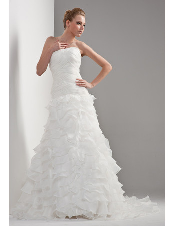 Cheap Gorgeous Tiered A-Line Strapless Sweep Train Dress for Wedding