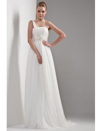 Cheap Simple Classy One Shoulder Chiffon Sweep Train Empire Wedding Dress