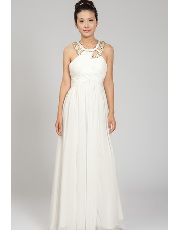 Cheap Chiffon Round Neck Floor Length Sheath Wedding Dress