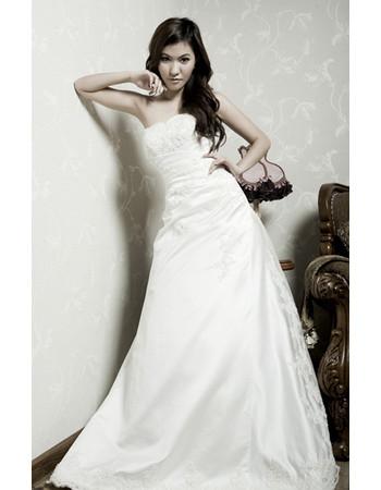 Cheap A-Line Strapless Court Train Satin Wedding Dress