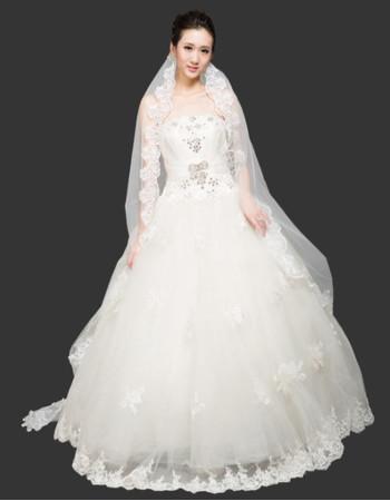 Women's Vintage Ball Gown Strapless Floor Length Organza Wedding Dress