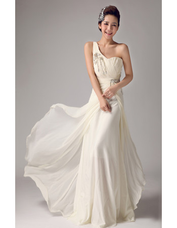 Affordable Romantic Chiffon One Shoulder Brush/ Sweep Train Wedding Dress