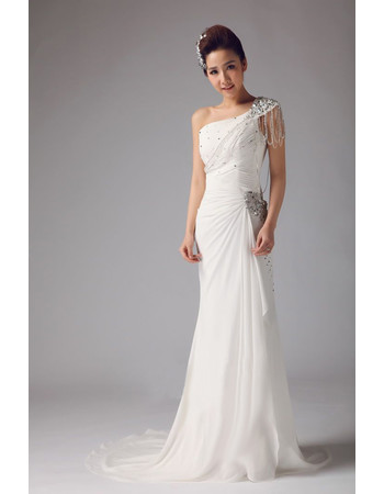 Affordable Beautiful One Shoulder Chiffon Brush/ Sweep Train Sheath Wedding Dress