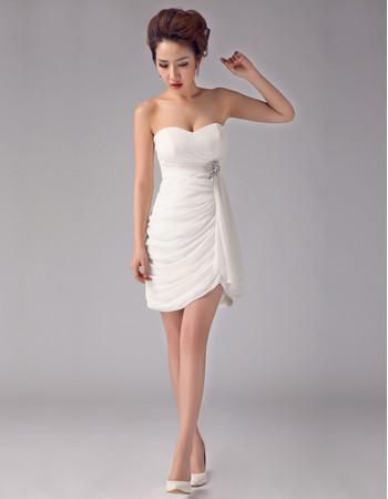 Women's Charming Sheath Sweetheart Chiffon Short Dress for Beach Wedding