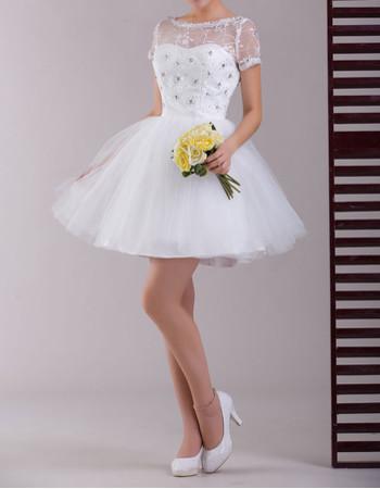 Charming Short Sleeves Organza A-Line Short Reception Wedding Dress
