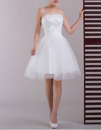 Classic Simple A-Line Strapless Satin Short Beach Wedding Dress
