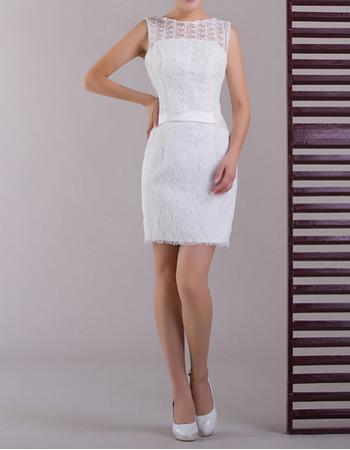 Modern Classy Lace Column/ Sheath Short Beach Wedding Dress