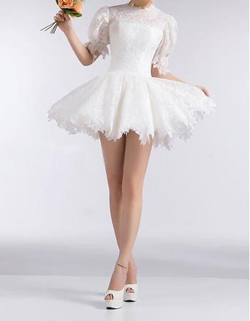 Informal Designer Bubble Sleeves Lace A-Line Short Summer Beach Wedding Dress