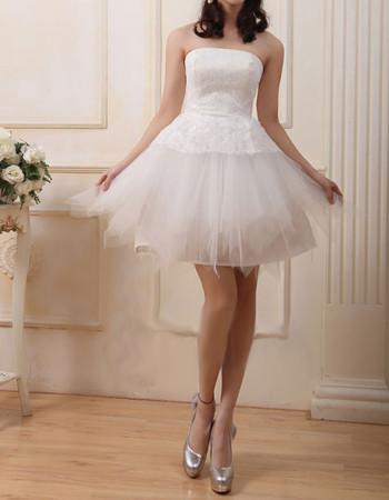 Cheap Stylish A-Line Strapless Satin Organza Short Reception Wedding Dress