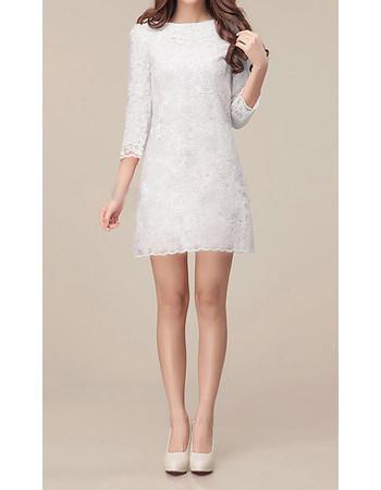 long sleeves lace sheath column short beach wedding dress