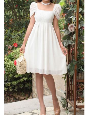 Beautiful High Waist Cap Sleeves Chiffon Empire Short Bridal Dress for Beach Wedding